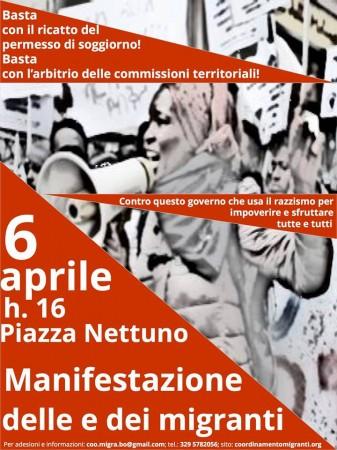 Bologna, 6 aprile. Contro il razzismo di governo ...